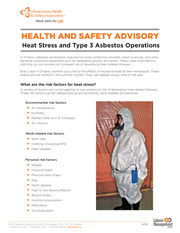Health and Safety Advisory: Heat Stress and Type 3 Asbestos Operations